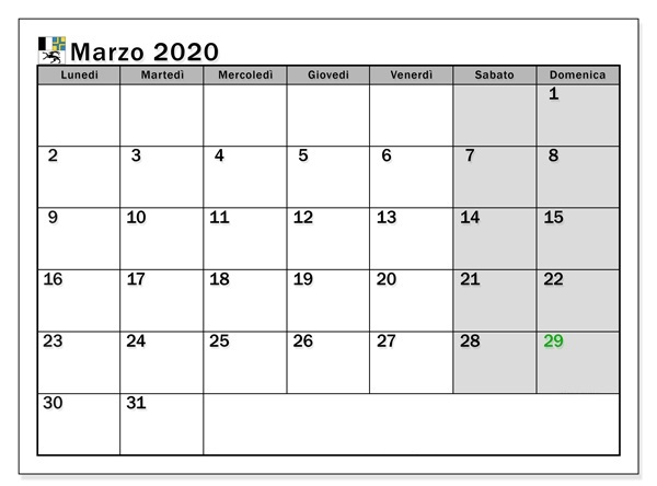 Calendario Marzo 2020 Chile