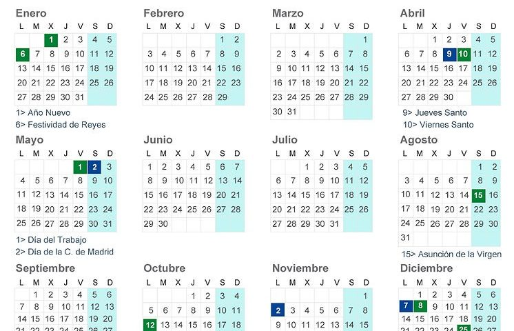 calendario laboral madrid 2020