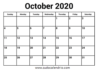 October 2020 Calendar With Holidays