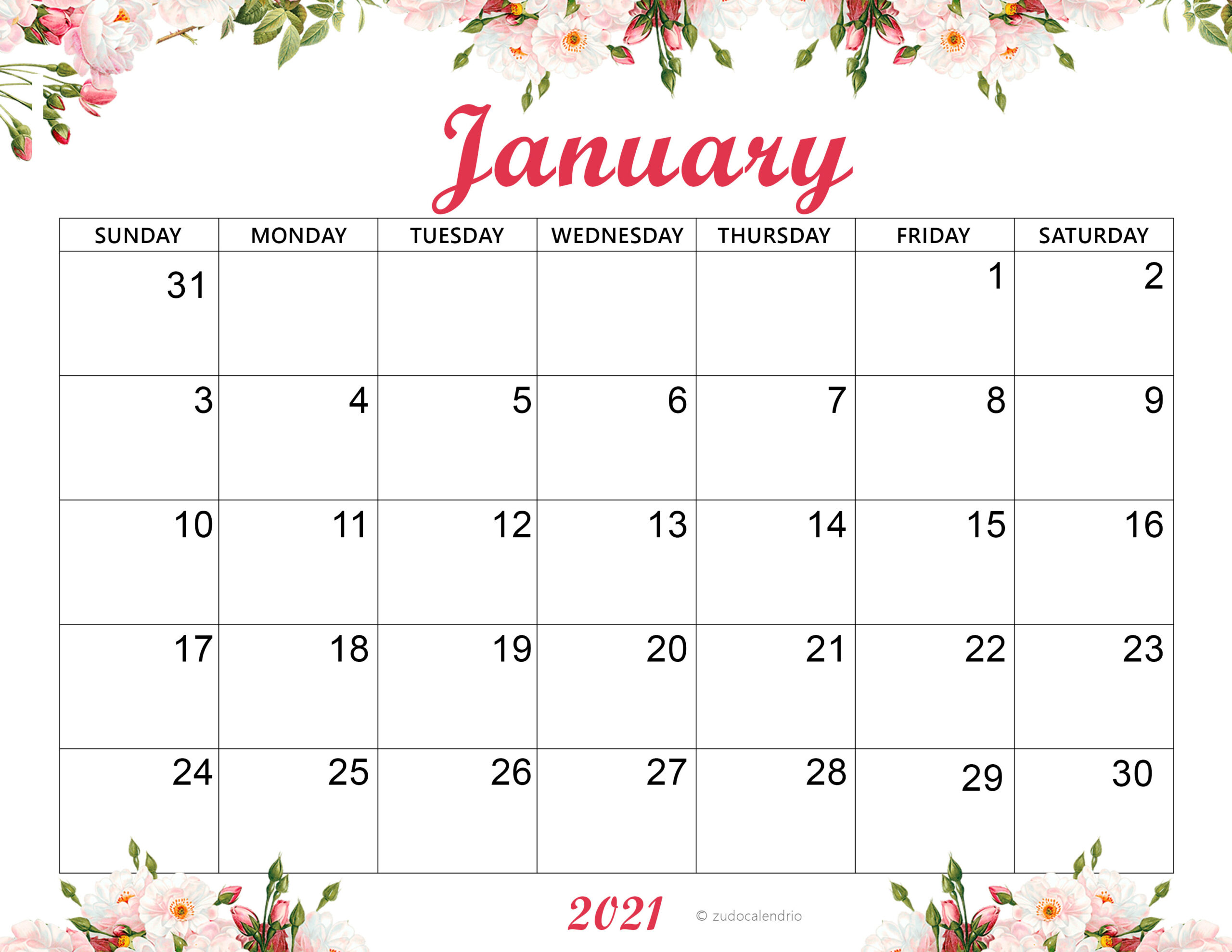 Pretty January 2021 Calendar Cute January 2021 Calendar Template | Zudocalendrio