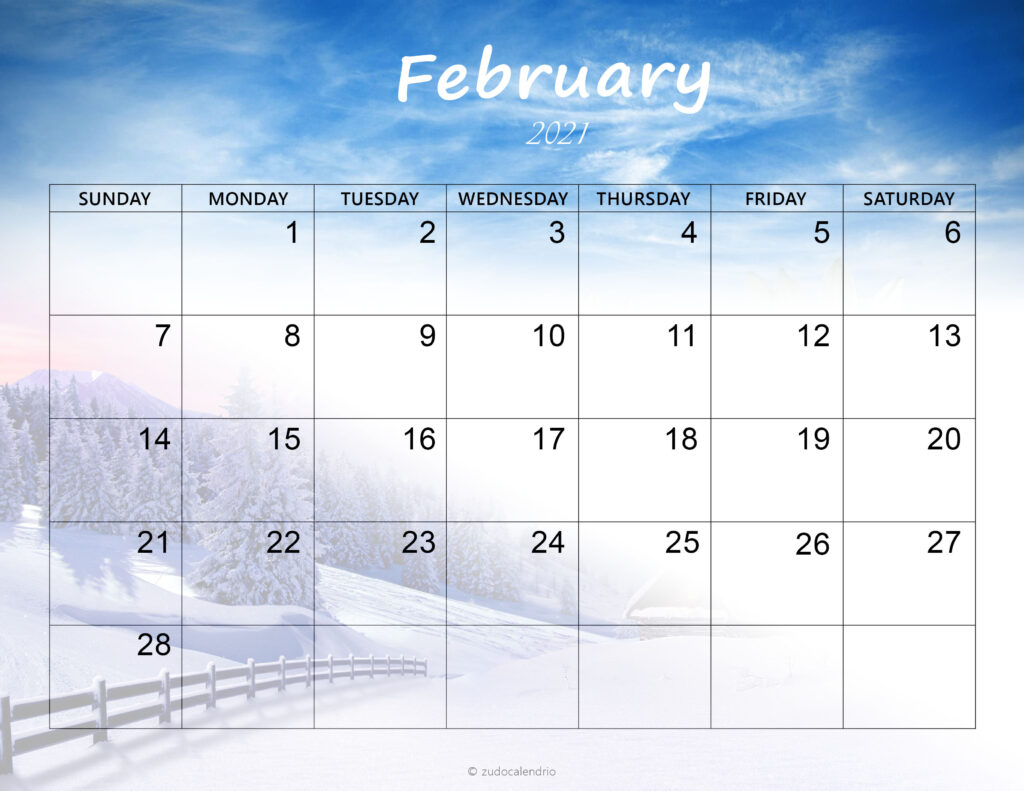 Printable Cute Calendar 2021 February | Zudocalendrio