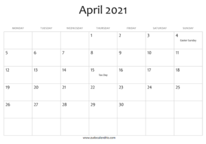 April 2021 Calendar UK Holidays