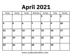 April 2021 Calendar USA Holidays