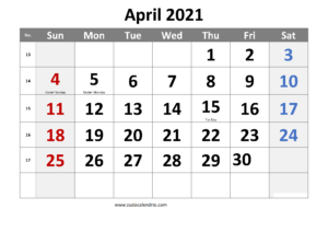 April 2021 Calendar With Holidays