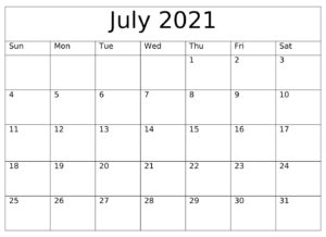 July 2021 Calendar With Holidays
