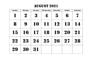 Online August 2021 Calendar With Holidays
